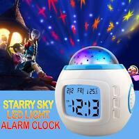 Kids Room Sky Star Night Light LED Projection Lamp Music Alarm Clock Calendar US