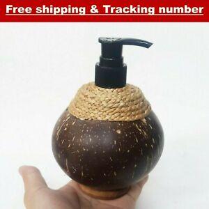 Natural Coconut Shell Bottle Liquid Soap Dispenser Pump Handmade Pump Liquid