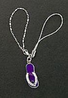Dangle Purple Enamel 925 Sterling Silver Sandal Crystal Cell Phone Charm Strap