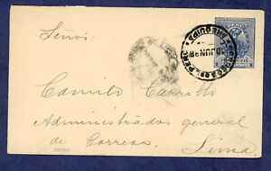 Peru- Postal Stationary, Envelope, Higgins and Gage 11, Arequipa to Lima 1898