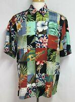 Banana Cabana Mens sz M Red Blue Green Floral Patchwork Silk Hawaiian Shirt