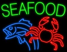 "Seafood Fish Crab Neon Light Sign 32""x24"" Artwork Poster Beer Open"
