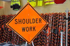 "Shoulder Work Fluorescent Vinyl With Ribs Road Sign 48"" X 48"""