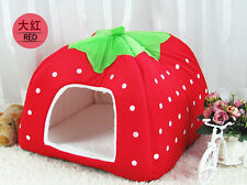 Cute Strawberry Pet Dog Kennel Cat House Bed Sofa Soft Size S M L XL XXL