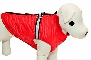 RED DOG PUPPY REFLECTIVE RAINCOAT QUILTED FLEECE LINED COAT JACKET with ZIP