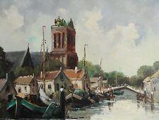 WOUTERS, (XX.Dutch) signiert - Gemälde: Grote Kerk Dordrecht, Niederlande /Boote