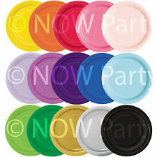 """16 x 9"""" ROUND Paper PLATES 22cm Plain Solid Colours Birthday BBQ Party Tableware"""