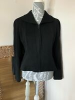 Vintage Gruppo GFT MANI By Armani Black Wool Fitted Zip Jacket Size UK 10