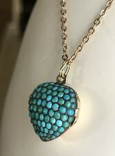Antique Victorian Pave Turquoise 15k Gold Heart Locket