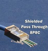 50Pcs CAT6 EZ RJ45 Network Shielded Modular Plug 8P8C Connector End Pass Through