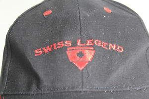 Swiss Legend Black Baseball Cap Hat Embroidered