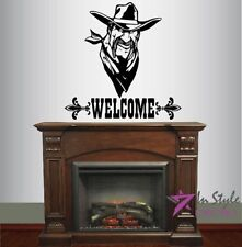 Wall Vinyl Decal Welcome Cowboy Face Man Western Removable Wall Sticker 1524