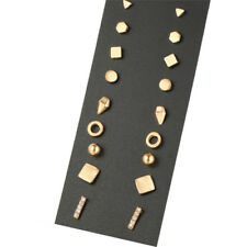 9Pairs/Set Simple Crystal Geometry Earrings Women Stud Ear Earrings Jewelry