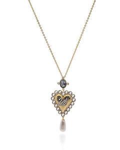Swarovski Vintage Swan Gold Tone Heart Crystal Necklace 5452384 MSRP $129