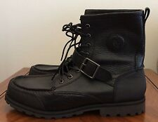 Polo Ralph Lauren Weybrook Black Pitstop Leather Ankle Hiking Work Boots Size 10