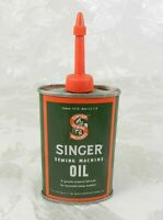 Vtg Singer Sewing Machine Oil Handy Oiler Tin Can 3 oz Oval Made in USA Red Tip