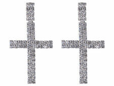 Luxury Womens Lady Silver Clear Crystal Rhinestone Cross Dangle Drop Earrings