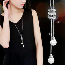 Fashion Women Crystal Pearl Pendant Long Sweater Chain Necklace Charm Jewellery