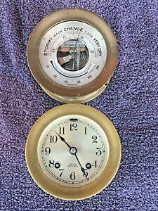"ANTIQUE CHELSEA ""SHIP'S BELLS"" CLOCK W/ BAROMETER, CIRCA 1950S, 4"" DIAL"