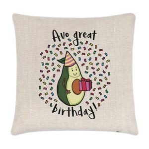 Avo Great Birthday Linen Cushion Cover Pillow - Funny Avocado Joke Vegan Joke