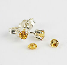 Golden Citrine gemstone 3mm Sterling silver stud earrings