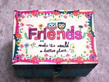 NATURAL LIFE CRAZY LOVE TINY WOOD TRINKET OR JEWEL BOX OWL FRIENDS