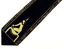 Men Silk Necktie Art Novelty Tie EGYPTIAN Gold Color on Black Egypt Hand Painted
