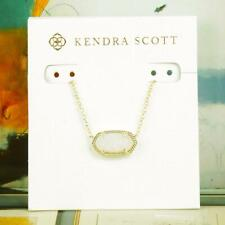 NWT Kendra Scott Elisa White Iridescent Drusy Short Necklace Gold Tone