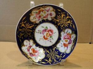 "Antique Hand Painted Imari 7 1/2"" Bowl Cobalt Blue & Gold Trim Flowers (B)"