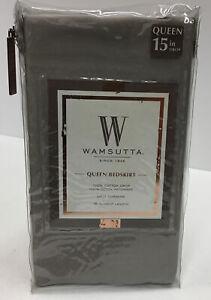 """Wansutta Queen Bed Skirt-100% Cotton In Silver -15"""" Drop Length"""