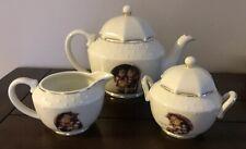 "Hummel Porcelain Tea Set ""Stormy Weather"" By Danbury Mint Tea Pot Sugar Creamer"