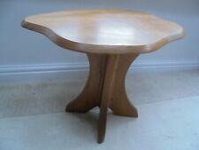 Vintage mid century coffee table, irregular shape, light wood, lamp side