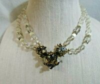 MIRIAM HASKELL Vintage Glass Crystal  Choker Necklace  w/ Gorgeous Pendant