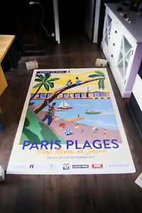 FRENCH PARIS PLAGE 4x6 ft Original French Art Advertising Poster 2019