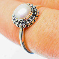 Cultured Pearl 925 Sterling Silver Ring Size 7.25 Ana Co Jewelry R25578F