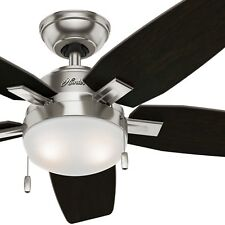 "Hunter Fan 46"" Low Profile Ceiling Fan in Brushed Nickel with LED Light"
