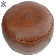 Leder Sitzkissen Stuhlkissen Fußkissen Orient Hocker Marokko Kissen Pouf Braun