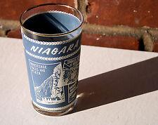 Vintage 1960s Souvenir Glass Niagara Falls Blue/White Gold Rim-Federal-Aerocar