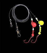 DEGA Brandungsvorfach mit 2 Armen, Spinnern und leucht. Perlen 1/0  0,60/0,40mm