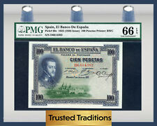 TT PK 69c 1925 SPAIN EL BANCO DE ESPANA 100 PESETAS PMG 66 EPQ GEM UNCIRCULATED