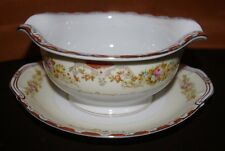 CR TUILLERIE JAPAN RED TRIM GRAVY SAUCE BOAT BOWL ATTACHED LINER UNDER PLATE