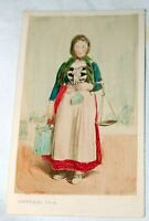 Antique Hand Tinted Portrait French Woman Peasant Farmer ACEO 1890 Victorian
