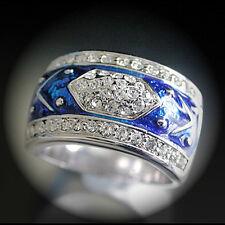 SZ 7 (O) WHITE GOLD EP Montana Royal Blue Enamel Ring | Summer Beach Ring