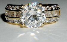 Solitaire Cz Accents Engagement Ring Gold Plated Sterling Silver 3ct Brilliant