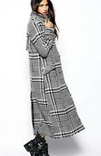 FREE PEOPLE RECOGNITION HOUNDSTOOTH MAXI COAT BLACK WHITE SIZE 0 NWOT