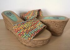 SPRING STEP Italy Multi-Color Wedge Platform Sandal Slide Size 41 EU 9.5 10 US