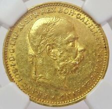 1893 GOLD AUSTRIA 20 CORONA FRANZ JOSEPH I COIN NGC ABOUT UNCIRCULATED 50