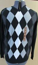 NWT PRONTO UOMO Mens Black Gray V-Neck Sweater - Size L