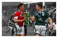 BRIAN O'DRISCOLL & RONAN O'GARA AUTOGRAPHED SIGNED A4 PP POSTER PHOTO