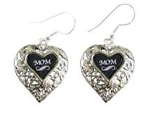 Mom Silver Filigree Heart Wire Hook Earrings Jewelry Family Gift Grandmother
